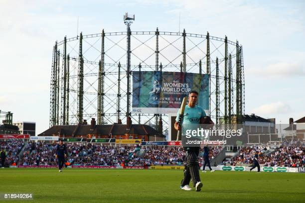 Kevin Pietersen of Surrey walks off the field after being caught by Tom Westley of Essex during the NatWest T20 Blast match between Surrey and Essex...