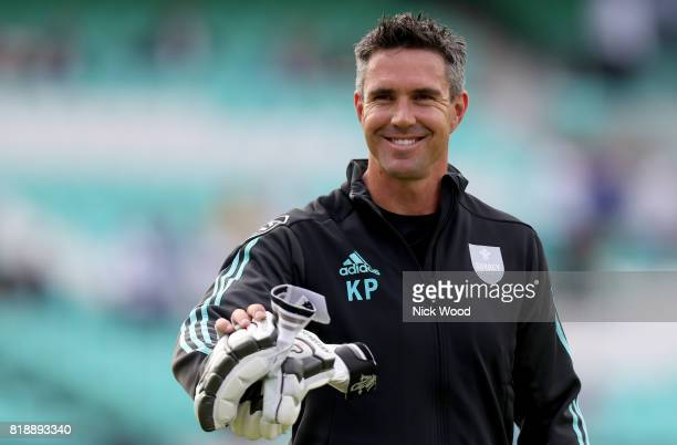 Kevin Pietersen of Surrey waves at a fan during the Surrey v Essex - NatWest T20 Blast cricket match at the Kia Oval on July 19, 2017 in London,...