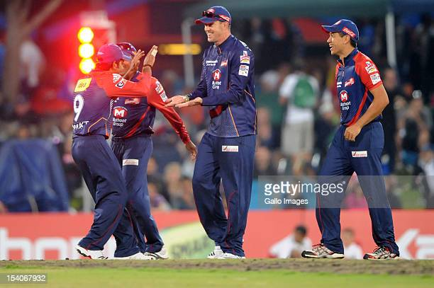 Kevin Pietersen of the Delhi Daredevils celebrates with team-mates after catching Gautam Gambhir of the Knight Riders off the the bowling of during...