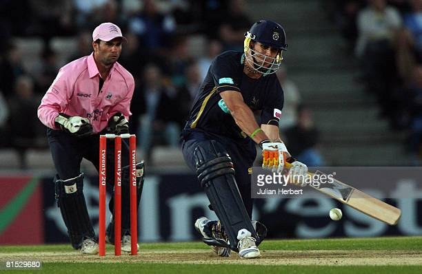 Kevin Pietersen of The Hampshire Hawks bats during The Twenty20 Cup match between Hampshire Hawks and Middlesex Crusaders at The Rose Bowl on June...