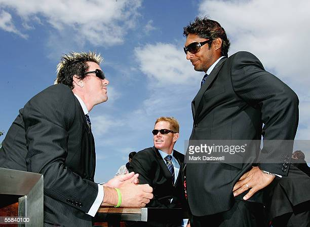 Kevin Pietersen of the ICC World XI chats with teammate Kumar Sangakkara during the ICC Super Series Civic Reception at Federation Square October 3,...