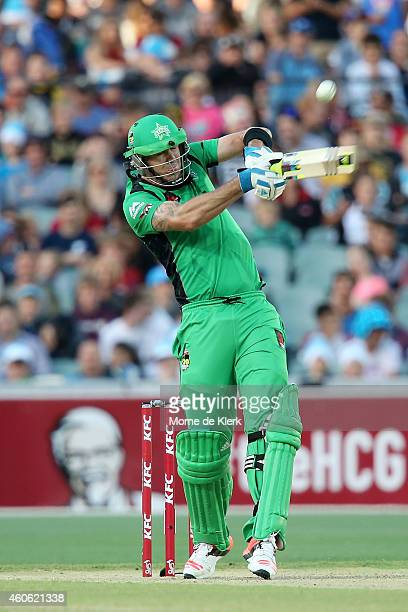 Kevin Pietersen of the Melbourne Stars hits six runs during the Big Bash League match between the Adelaide Strikers and Melbourne Stars at Adelaide...