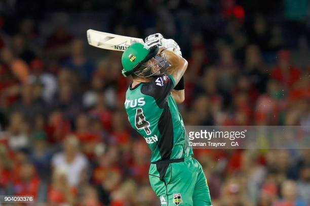 Kevin Pietersen of the Melbourne Stars plays what could be his last shot at Etihad Stadium as he is caught in the deep by Jack Wildermuth of the...