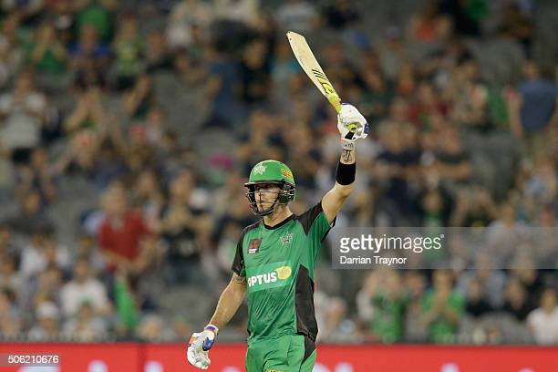 Kevin Pietersen of the Melbourne Stars raises his bat after scoring 50 runs during the Big Bash League Semi Final match between the Melbourne Stars...