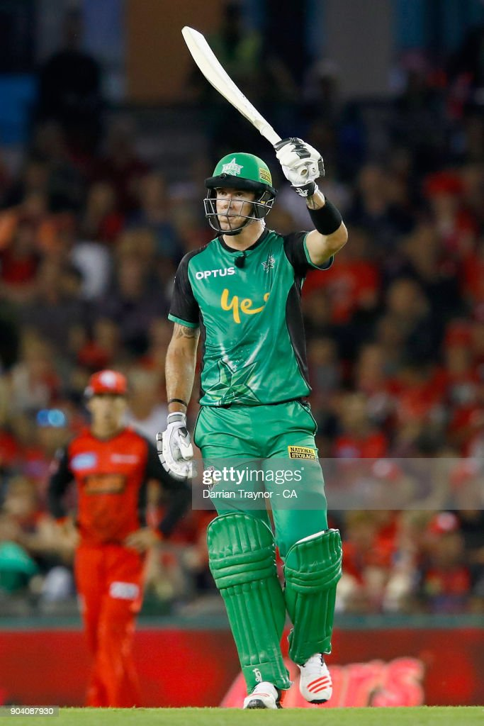 Kevin Pietersen of the Melbourne Stars raises his bat after scoring 50 runs during the Big Bash League match between the Melbourne Renegades and the Melbourne Stars at Etihad Stadium on January 12, 2018 in Melbourne, Australia.