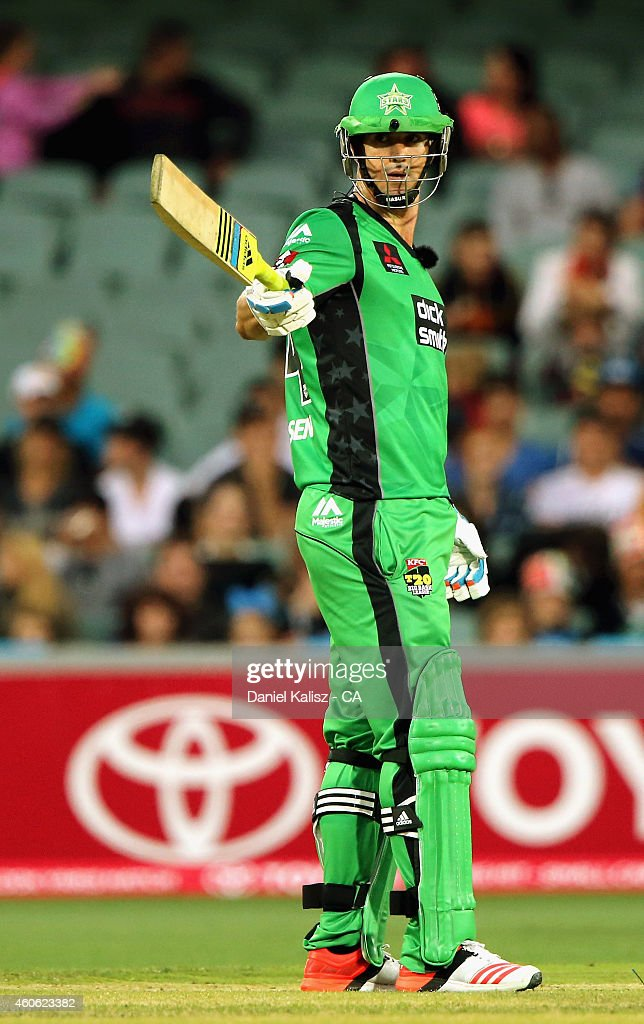 Kevin Pietersen of the Melbourne Stars reacts after scoring his half century during the Big Bash League match between the Adelaide Strikers and Melbourne Stars at Adelaide Oval on December 18, 2014 in Adelaide, Australia.