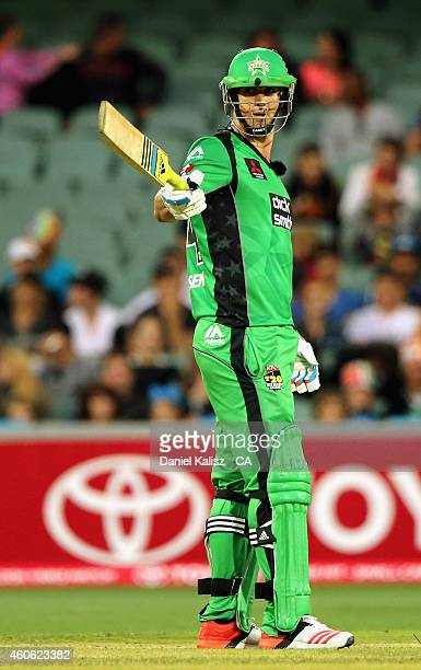 Kevin Pietersen of the Melbourne Stars reacts after scoring his half century during the Big Bash League match between the Adelaide Strikers and...