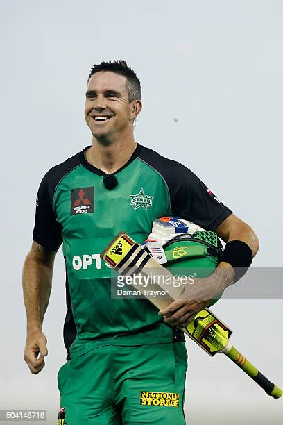 Kevin Pietersen of the Melbourne Stars walks from the ground to join team mates after the Big Bash League match between the Melbourne Renegades and...