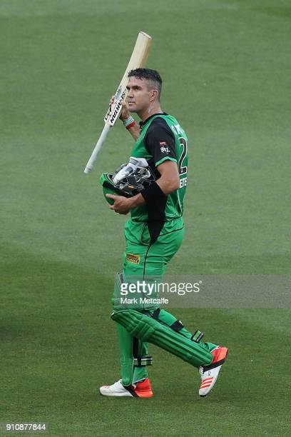 Kevin Pietersen of the Stars acknowledges the crowd following his dismissal in his last game for the Stars during the Big Bash League match between...