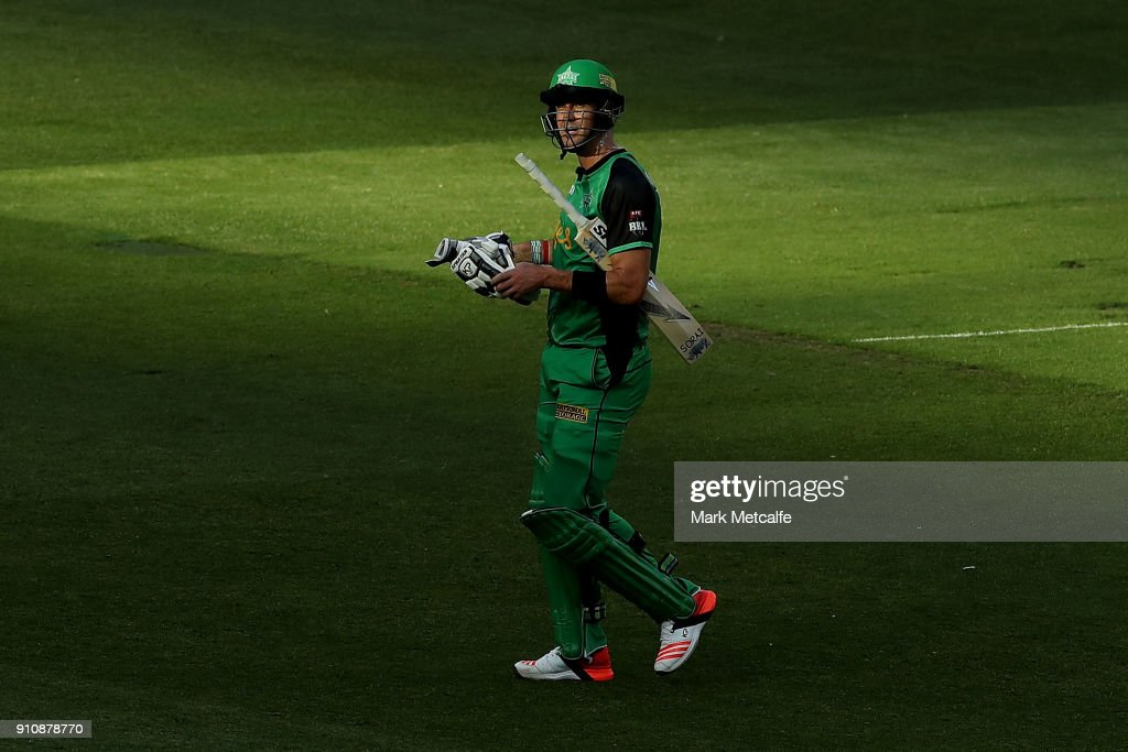 Kevin Pietersen of the Stars acknowledges the crowd following his dismissal in his last game for the Stars during the Big Bash League match between the Melbourne Stars and and the Hobart Hurricanes at Melbourne Cricket Ground on January 27, 2018 in Melbourne, Australia.