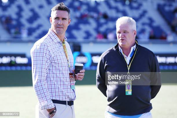 Kevin Pietersen of the Stars and former Australian cricketer Dean Jones are seen during the Big Bash League match between the Melbourne Renegades and...