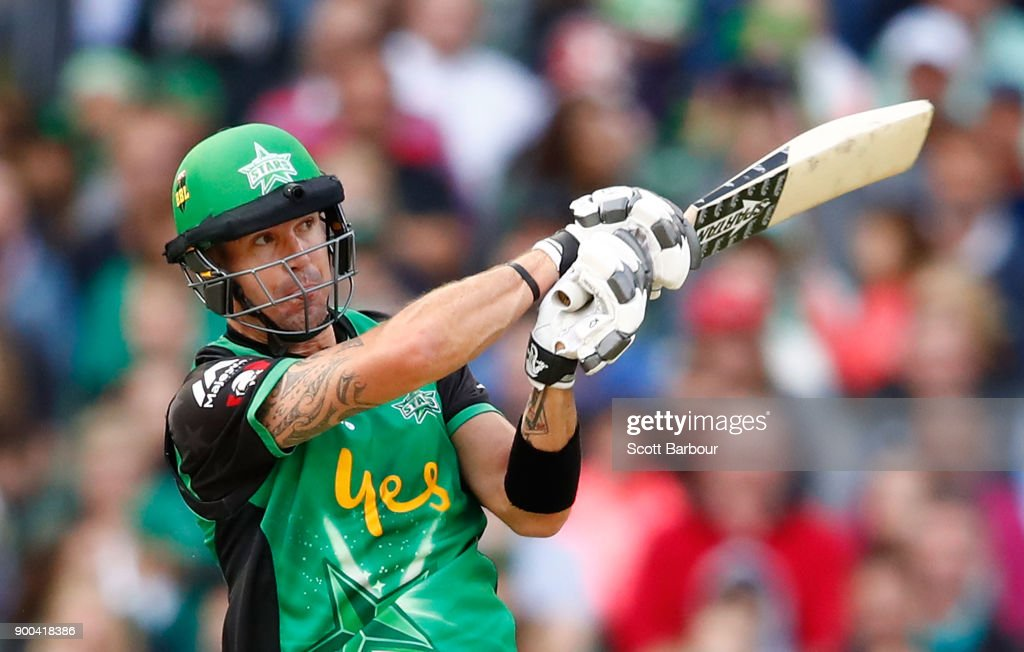 Kevin Pietersen of the Stars bats during the Big Bash League match between the Melbourne Stars and the Brisbane Heat at Melbourne Cricket Ground on January 2, 2018 in Melbourne, Australia.