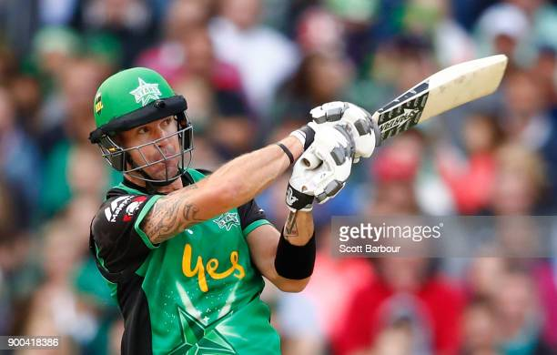 Kevin Pietersen of the Stars bats during the Big Bash League match between the Melbourne Stars and the Brisbane Heat at Melbourne Cricket Ground on...