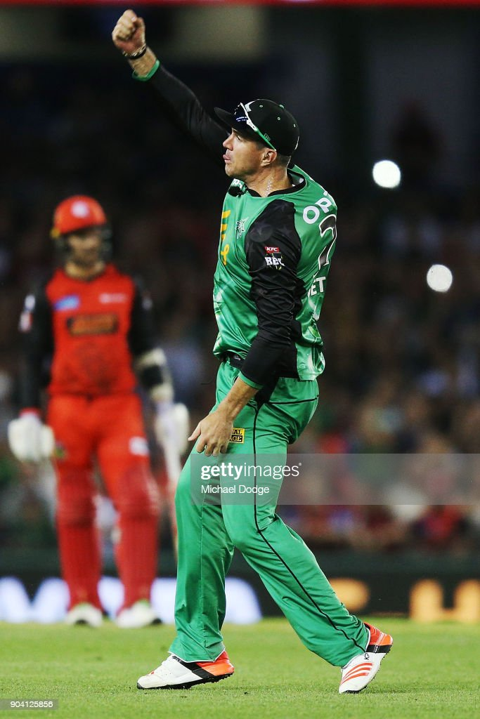 Kevin Pietersen of the Stars celebrates a spectacular diving catch to dismiss Tom Cooper of the Renegades during the Big Bash League match between the Melbourne Renegades and the Melbourne Stars at Etihad Stadium on January 12, 2018 in Melbourne, Australia.