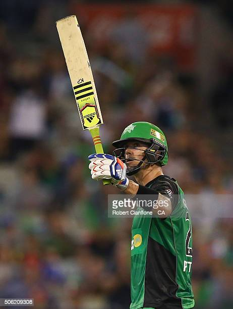 Kevin Pietersen of the Stars celebrates after reaching his half century during the Big Bash League Semi Final match between the Melbourne Stars and...