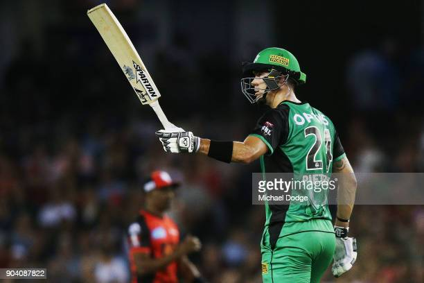 Kevin Pietersen of the Stars celebrates making his half century during the Big Bash League match between the Melbourne Renegades and the Melbourne...