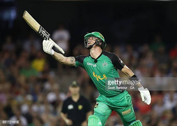 Kevin Pietersen of the Stars chucks his bat in the air after being dismissed during the Big Bash League match between the Melbourne Renegades and the...