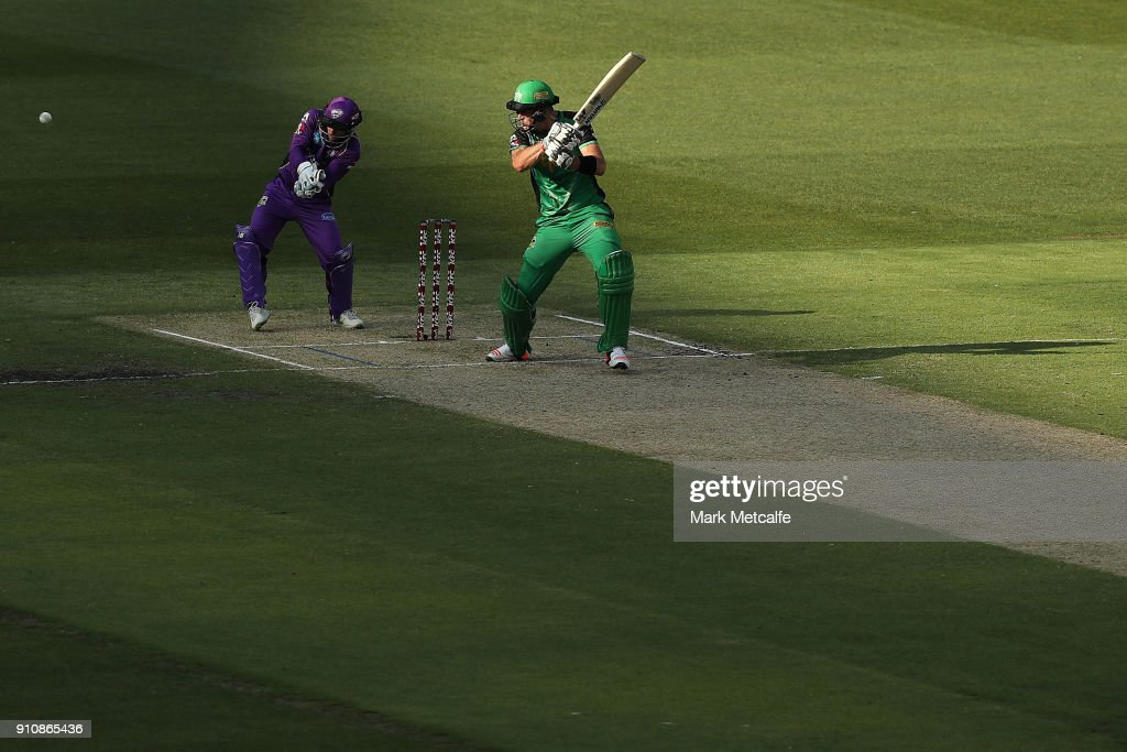 Kevin Pietersen of the Stars hits a four during the Big Bash League match between the Melbourne Stars and and the Hobart Hurricanes at Melbourne Cricket Ground on January 27, 2018 in Melbourne, Australia.