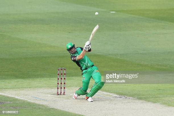 Kevin Pietersen of the Stars hits a six during the Big Bash League match between the Melbourne Stars and and the Hobart Hurricanes at Melbourne...