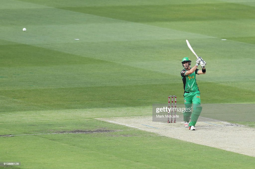 Kevin Pietersen of the Stars hits a six during the Big Bash League match between the Melbourne Stars and and the Hobart Hurricanes at Melbourne Cricket Ground on January 27, 2018 in Melbourne, Australia.