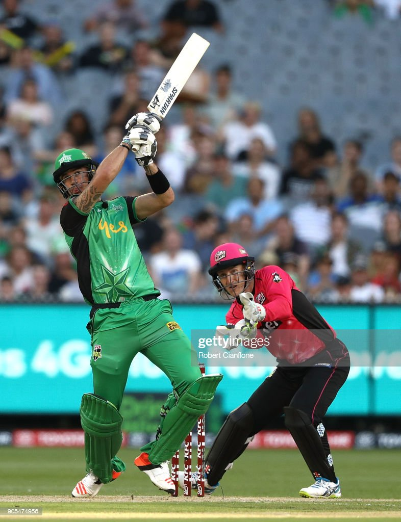 Kevin Pietersen of the Stars hits out during the Big Bash League match between the Melbourne Stars and the Sydney Sixers at Melbourne Cricket Ground on January 16, 2018 in Melbourne, Australia.