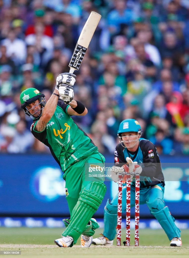 Kevin Pietersen of the Stars hits the ball in the air and is out caught during the Big Bash League match between the Melbourne Stars and the Brisbane Heat at Melbourne Cricket Ground on January 2, 2018 in Melbourne, Australia.