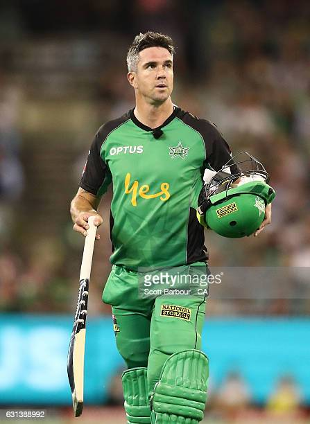 Kevin Pietersen of the Stars leaves the field after being dismissed during the Big Bash League match between the Melbourne Stars and the Adelaide...