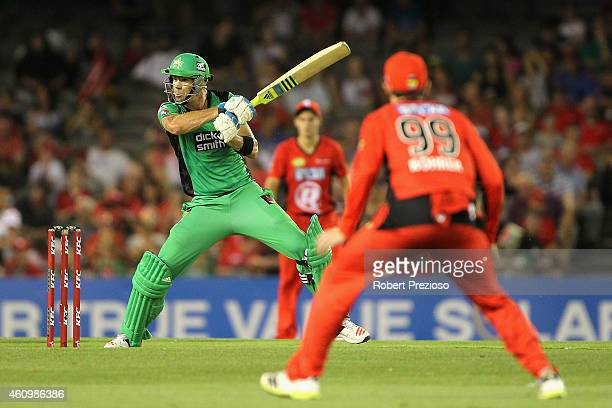 Kevin Pietersen of the Stars plays a shot during the Big Bash League match between the Melbourne Renegades and the Melbourne Stars at Etihad Stadium...