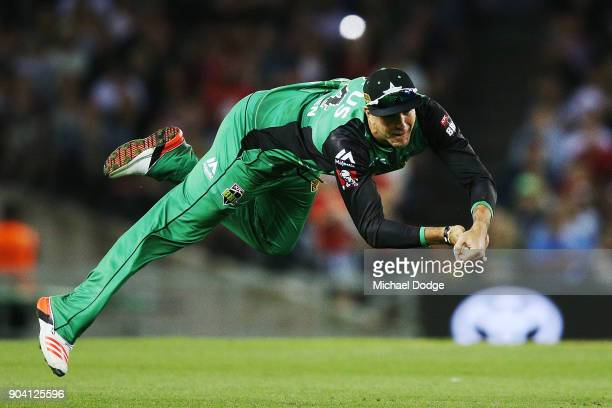 Kevin Pietersen of the Stars takes a diving catch to dismiss Tom Cooper of the Renegades during the Big Bash League match between the Melbourne...