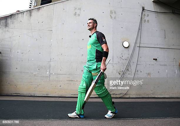 Kevin Pietersen of the Stars walks onto the field before the Big Bash League match between the Sydney Thunder and Melbourne Stars at Spotless Stadium...