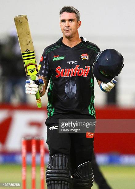 Kevin Pietersen of the Sunfoli Dolphins celebrates his century during the Ram Slam T20 Challenge match between Sunfoil Dolphins and bizhub Highveld...