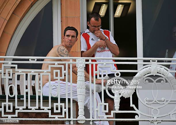 Kevin Pietersen on the dressing room balcony at the conclusion of the match Kevin has today been ruled out of the remainder of the Ashes series...