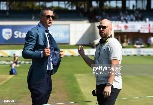 Kevin Pietersen speaks to Matt Prior of Talksport before Day One of the Third Test between England and South Africa on January 16, 2020 in Port...