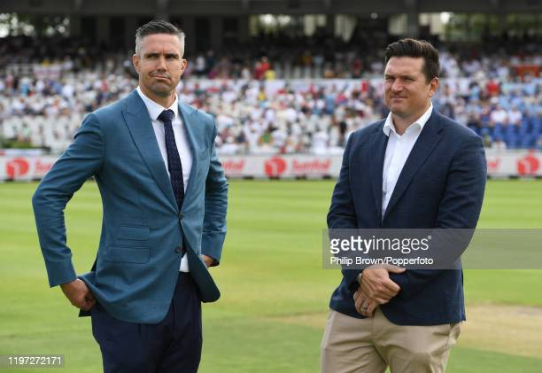 Kevin Pietersen talks to Graeme Smith before Day One of the Second Test between England and South Africa on January 03, 2020 in Cape Town, South...