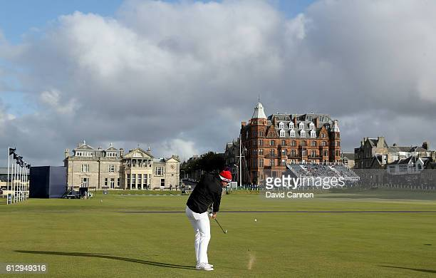 Kevin Pietersen the former England cricketer plays his approach shot at the 18th hole during the first round of the Alfred Dunhill Links Championship...