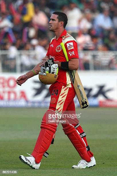 Kevin Pietersen walks off after losing his wicket during IPL T20 match between Royal Challengers Bangalore and Kings XI Punjab at SaharaStadium on...