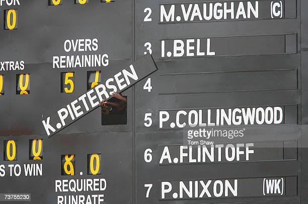Kevin Pietersen's name is added to the scoreboard during the ICC Cricket World Cup Super Eights match between England and Ireland at the Guyana...