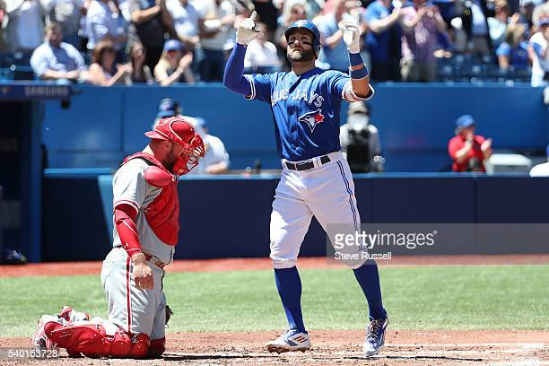 TORONTO ON JUNE 14 Kevin Pillar hits a home run in the second inning as the Toronto Blue Jays play an afternoon game against the Philadelphia...