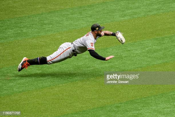Kevin Pillar of the San Francisco Giants makes a diving catch in the fifth inning of the MLB game against the Arizona Diamondbacks at Chase Field on...