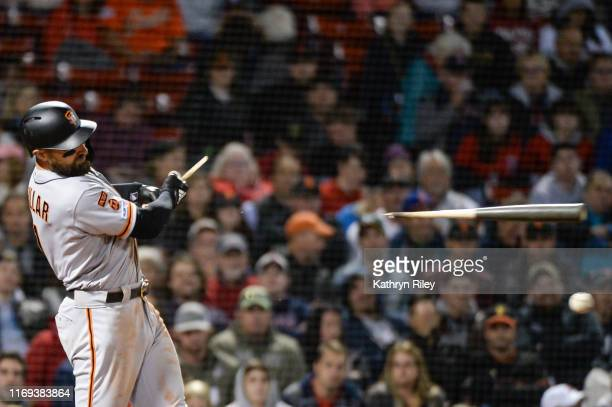Kevin Pillar of the San Francisco Giants singles in the eighth inning against the Boston Red Sox at Fenway Park on September 18, 2019 in Boston,...