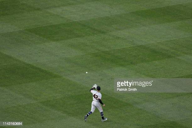 Kevin Pillar of the San Francisco Giants warms up before playing Washington Nationals during the first inning at Nationals Park on April 16 2019 in...