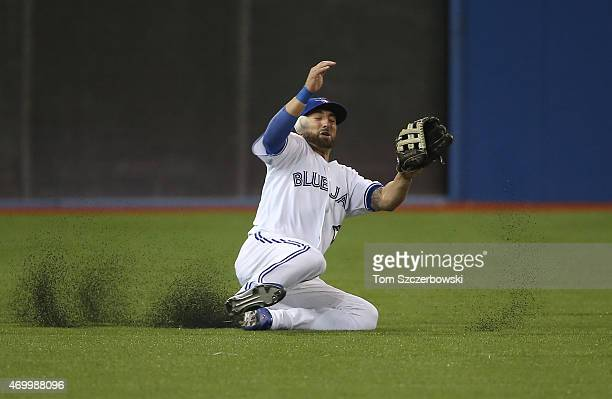 Kevin Pillar of the Toronto Blue Jays cannot make a sliding catch in the fifth inning as the ball gets past him leading to a run scoring on the play...