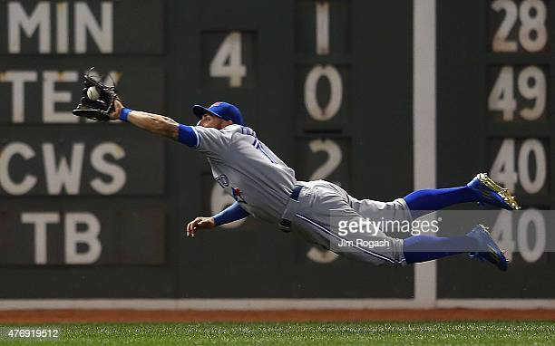 Kevin Pillar of the Toronto Blue Jays catches a ball hit by Brock Holt of the Boston Red Sox in the sixth inning at Fenway Park on June 12 2015 in...