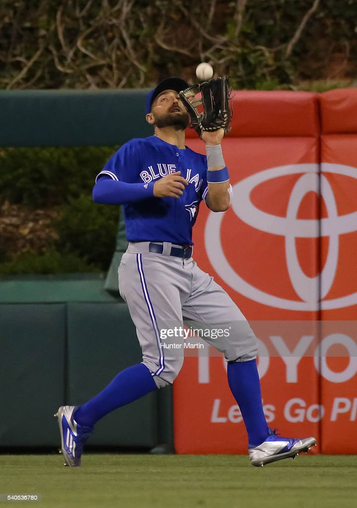 Kevin Pillar #11 of the Toronto Blue Jays catches a fly ball in the seventh inning during a game against the Philadelphia Phillies at Citizens Bank Park on June 15, 2016 in Philadelphia, Pennsylvania. The Blue Jays won 7-2.