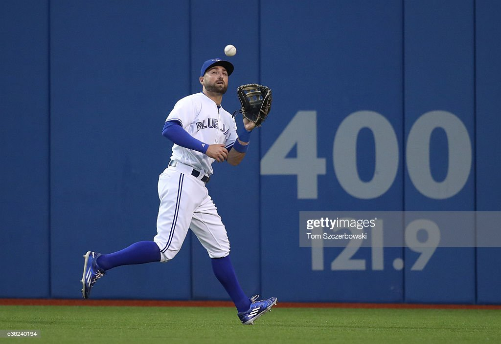 Kevin Pillar #11 of the Toronto Blue Jays catches a fly ball in the sixth inning during MLB game action against the New York Yankees on May 31, 2016 at Rogers Centre in Toronto, Ontario, Canada.