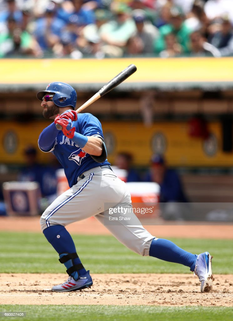 Kevin Pillar #11 of the Toronto Blue Jays hits a three-run home run in the second inning against the Oakland Athletics at Oakland Alameda Coliseum on June 7, 2017 in Oakland, California.