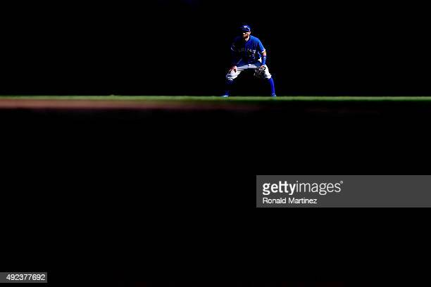 Kevin Pillar of the Toronto Blue Jays in centerfield in the fifth inning against the Texas Rangers in game four of the American League Division...