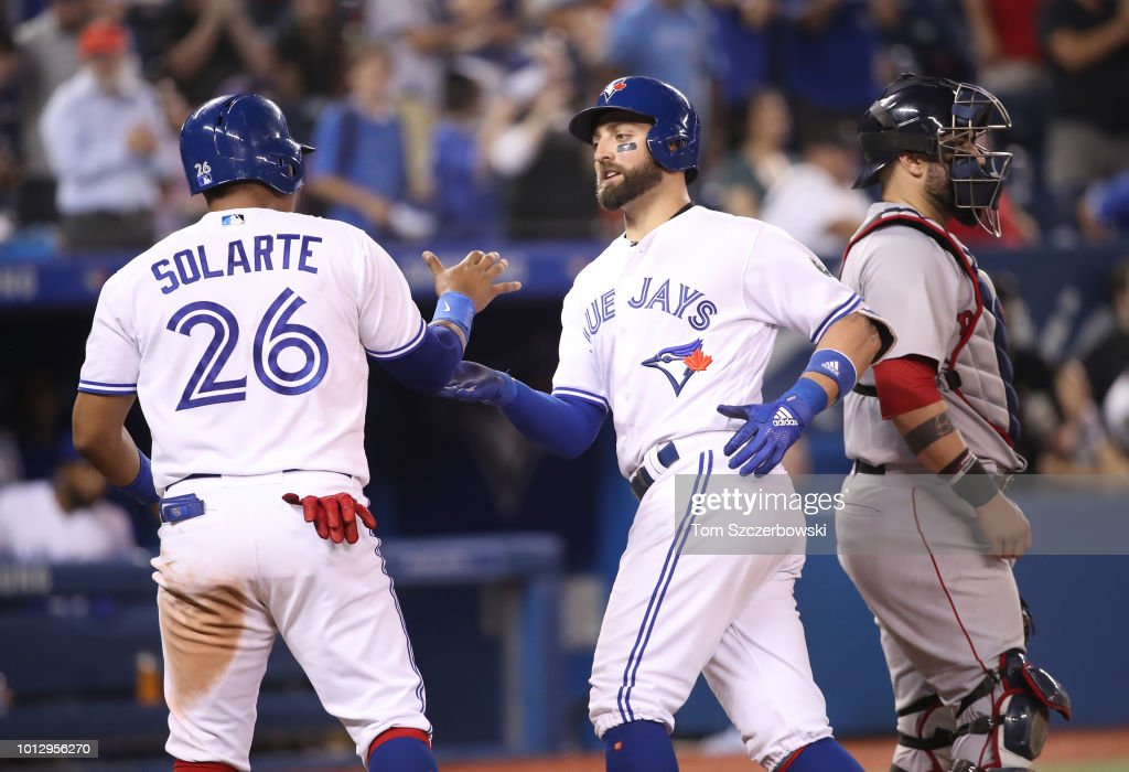 Kevin Pillar #11 of the Toronto Blue Jays is congratulated by Yangervis Solarte #26 after hitting a two-run home run in the 10th inning during MLB game action against the Boston Red Sox at Rogers Centre on August 7, 2018 in Toronto, Canada.