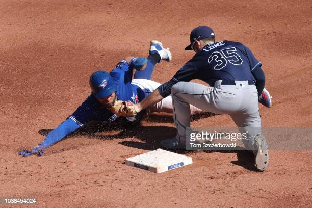 Kevin Pillar of the Toronto Blue Jays is thrown out attempting to steal second base in the fifth inning during MLB game action as Brandon Lowe of the...