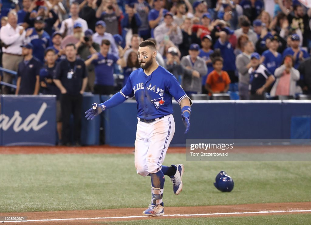 Kevin Pillar #11 of the Toronto Blue Jays jogs home after hitting a game-winning solo home run in the eleventh inning during MLB game action against the Cleveland Indians at Rogers Centre on September 7, 2018 in Toronto, Canada.